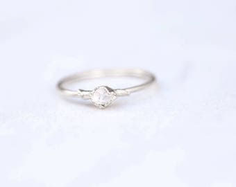 Dainty Boho Ring, Silver Herkimer Diamond Ring, Thin Raw Ring, Rough Crystal Ring, Raw Crystal Ring, Dainty Crystal Ring, Delicate Ring