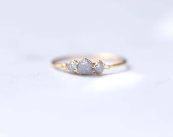 Triple Raw Diamond Ring, Yellow Gold, Delicate Stone Ring, Raw Grey Diamond Ring, April Birthstone Ring Rough Diamond Stacking Ring, Wedding