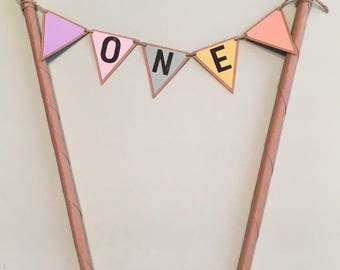First Birthday Cake Topper, Pastel and Brown | Girl Birthday Party