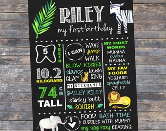 First Birthday Chalkboard Sign | Customised |  1st Birthday Milestone Print | Personalised | Party Sign | Jungle Theme