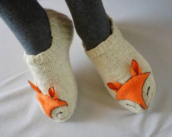 Warm House Slippers Knit Slippers Women - Cute Fox - Natural Wool Socks - Warm Slippers - Ankle Socks Slipper Socks house slippers women