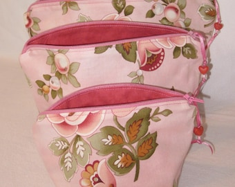 Zippered Pouch Set in Three Sizes, Stash Bags Great for Make-up and Various Personal Items. Great for organizing and gift giving.