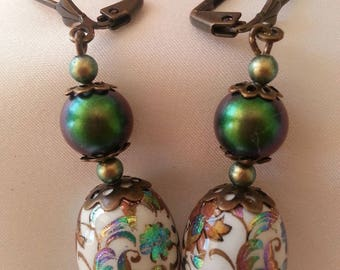 Beads and Japanese TENSHA beads Pearly svarovski - earrings.