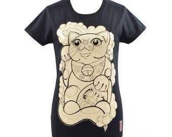 Ladies Black Maneki Neko t-shirt - Japanese Tattoo - Lucky Cat - Daruma Doll - Kitten - Japanese Cherry Blossom - Japanese Print - Sakura