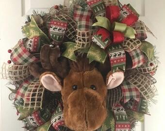 Christmas Wreath, Moose Wreath, Outdoor Wreath, Woodland Moose Wreath, Holiday Wreath, Front Door Wreath, Wreaths, Xmas Wreath, Xmas Decor