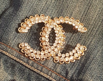 Chanel inspired 3d rhinestone coco Chanel inspired gold chanel brooch pin