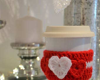 Crochet cup cozy for Valentine's Day!