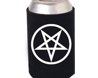Pentagram beer cozie, Pentagram beer can cooler, Heavy Metal can cooler, Satanic beer cozie, Pentagram Beer mug, Pentagram, Satan, Satanic