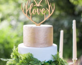Love heart cake topper, wedding cake topper, deer antlers topper, rustic wooden cake topper, woodland wedding decoration, love topper
