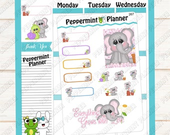 Cute Little Spring Time Elephant --- Planner Stickers --- 267