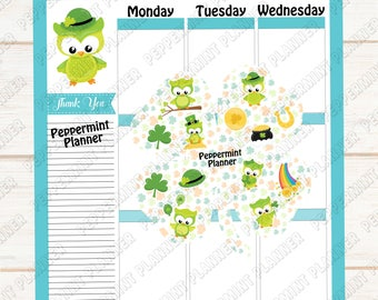 Owl Four Leaf Clover --- Planner Stickers