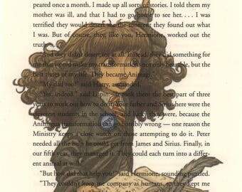 Hermione Art Print, Harry Potter Art, Harry Potter Book Print, Harry Potter Nursery, Harry Potter Gift, Harry Potter Decor, Harry Potter