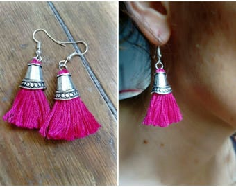 Hot pink long tassel earrings