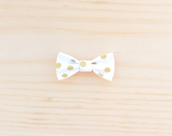 White & Gold Baby Bow