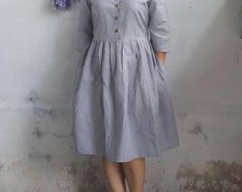 Linen Dress / Classic Peter Pan Collar Linen Dress, Loose Fit Dress, Rustic Dress in Light Grey