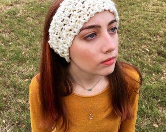 Chunky Headband, Chunky Ear Warmer, Wool Headband, Winter Headbands, Knit Ear Warmer, Crochet Ear Warmer, White Ear Warmer, Crochet Headband