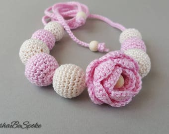 Crochet jewellery Girls necklace Natural jewellery Kids accessory Toddler necklace