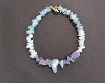 Aquamarine, Tanzanite and Moonstone Bracelet