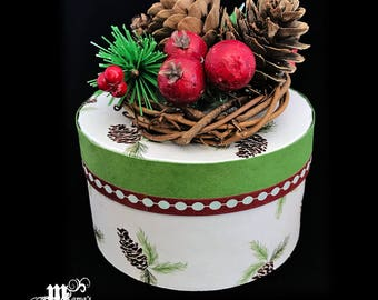 Paper Mache Jewelry Box with Pine Cones, Green, White, Berries, Dots, Wreath, Vines, Round, Christmas, Festive, Cute, Decoration, Winter