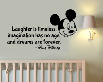 Disney Quote Wall Decal Mickey Mouse Sticker Vinyl Lettering Laughter Is Timeless Saying Art Inspirational Decorations for Home Decor hq17