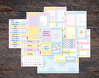 35% SALE - Sailor Nautical Weekly Kit for Erin Condren Life Planner Spread Anchor Decal Beach Marine Sailing Summer KES005-Kit