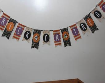 Halloween Banner, Trick or Treat Banner, Halloween Decor, Halloween Burlap Banner, Halloween Photo Prop