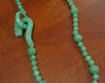 Vintage Carved Green Jade Necklace Dragon Toggle Clasp