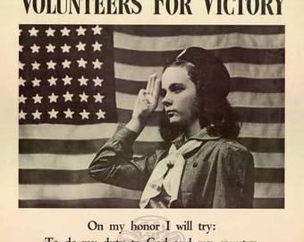 Girl Scouts Volunteers For Victory Poster - World War II Art - Vintage Print Art - Home Decor