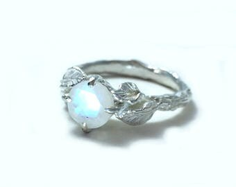 Moonstone engagement ring, Nature inspired ring, Gemstone branch ring, Faceted moonstone ring