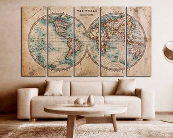 World map print etsy large world map canvas print wall art multi panel world map wall decor world map print gumiabroncs Gallery
