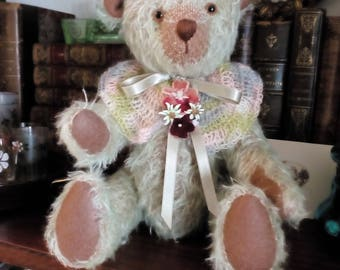 Collection or decoration mohair bear is jointed handmade OOAK