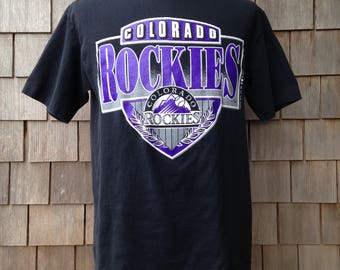 90s Vintage Colorado Rockies T Shirt by Trench - Large - MLB baseball
