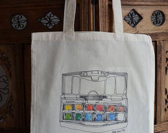 Paint Palette Tote Bag, Cotton Market Bag, Hand Printed