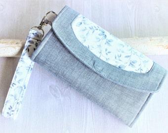 Womens wallet in florals, womans wristlet clutch, handmade wallet, accordion fabric wallet, iphone wallet, gift idea