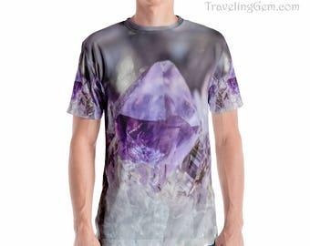 Amethyst Men's T-shirt_Purple Amethyst Crystal Tee_Rock Design Shirt_ Stone Pattern Apparel_Purple Earth Clothes_Men's Gem Geologist Shirt