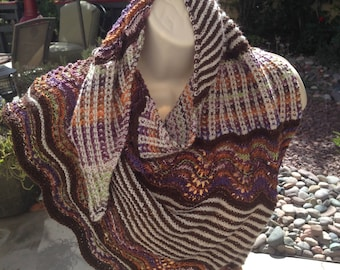 "Unique and different .Finding Autumn""   Hand made one of a kind shawl  perfect for the Fall Season.Soft and cosy. One of a kind"