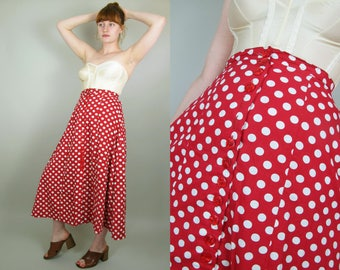 "50s Style Vintage Handmade Cotton Red and White Polka Dot Button Down Full Skirt Small- 26"" waist"