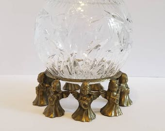 Vintage Crystal Rose Bowl With Solid Brass Musical Angels Stand