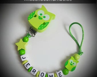 Personalized pacifier clip wooden OWL + star beads