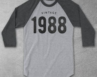 30th Birthday for Him & Her - Vintage 1988 Baseball Tee - 30th Birthday Shirt- Gift Ideas- Vintage 1988 tshirt - birthday gifts Graphic Tee
