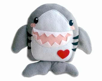 Shark plushie, pillow, cushion, stuffed toy, stuffed animal, animal plushie, Kawaii plushie, fish, teeth, jaws, fin, ocean