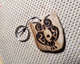 Tribal Owl Myrtlewood Keychain