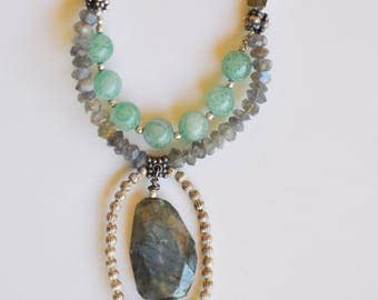 "Labradorite and Green Aventurine 25"" necklace"