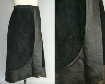 come on eileen / black suede wrap skirt with leather trim / 6 8 small