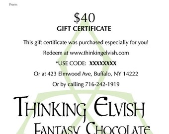 PDF (email) Gift Certificate for our Gourmet Chocolate - Handmade in Small Batches - Non-Dairy, Soy-Free, Non-GMO, Organic Ingredients