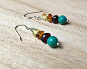 Turquoise Earrings - Baltic amber earrings, sterling silver earrings, Baltic amber necklace, turquoise necklace, turquoise jewelry, mom gift