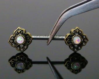 White Opal Tribal Flower Nipple Barbell, Opal Nipple Piercing, 14 Gauge Flower Nipple Barbell Ring, Gold Barbell, H 351