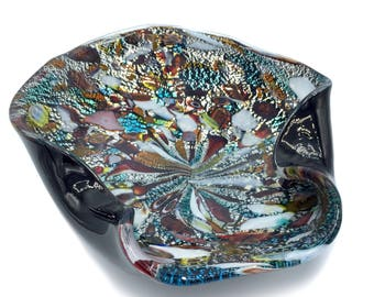 Murano Glass Bowl: Tutti Frutti by AVeM Murano Dino Martens Style, circa 1950 w/ Brown White Glass & Copper Blue and Silver Foil Inclusions