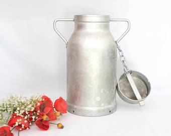 """Vintage French Aluminum Milk Can, Milk Canister, Milk Churn, """"SOLAMI"""", 20 Liters/5.2 Gallon, Countryside ~ Cottage, Made in France, 1950s"""