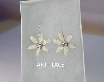 Jasmine Flower earrings Dangle White earrings White Flower earrings Drop Jasmine Jewelry set Cute gift for her Bridal Flower Girl earrings